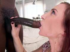 Redhead cock-sucker Sophia Locke deepthroating big black shaft