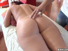 Heavy chested redhaed Sophie Dee gets massaged
