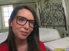 Hot brunette Sally Charles wears glasses and wants to suck a cock