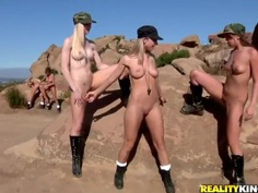 Army bitches Breanne Benson, Charlie Laine, Jayden Cole, Julia Crown doing naked exercises