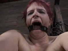 Gagged beauty with clamped nipples gets enjoyment