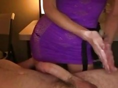 Hot Babe massaging his cock