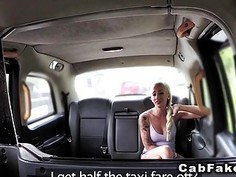 Blonde in red knickers bangs in fake taxi