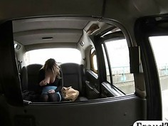 Hot blonde babe gets her tight anal fucked in the cab