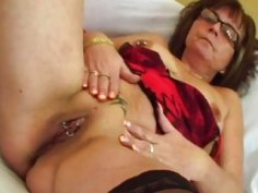 Younger dude fucks older woman's moist pierced pussy in many poses