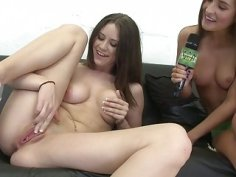 Hot brunette babe masturbates for money