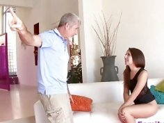 Stepdaughter gets pussy pounded by horny stepdad