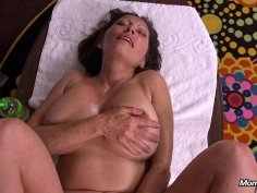 Horny cougar gets her ass oiled up and smashed POV