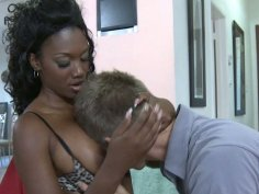 Cock starving black babe sucks hot white cock