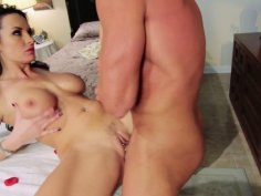 Hungry for cock bitch Alektra Blue gets her mouth fulled with a sausage