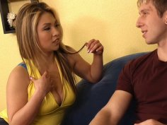 Buxom peroxide blondie Mia Rider wins a cock for sucking