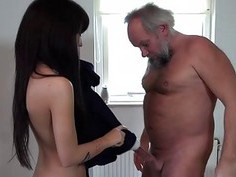 Wanking old perv ends cumming on hot brunette
