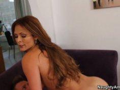 Delicious latina MILF Monique Fuentes rides huge white dick