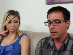 Molly Bennett gets horny for nerdy shy man and blows him