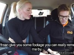 Nasty blonde fucks instructor in his car