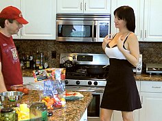 Brunette fucked in the kitchen