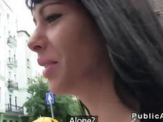 Amateur babe loves cash and public sex
