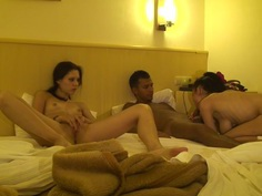 Margo & Aspen & Jocelyn in a horny group enjoys hardcore sex at hotel
