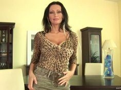 Lewd brunette cougar Pandora stripteases for your pleasure