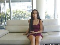 Banging perky oiled ebony teen at casting
