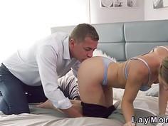 Slim blonde Milf sucks and fucks in bedroom
