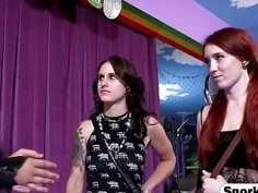 Couple of charming girls are having hot threesome with tattooed punk