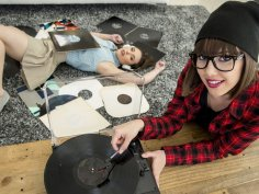 Two college girls having fun