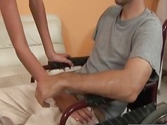 Petite brunette seduces and fucks guy in wheelchair