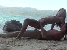 Anne in hardcore sex on the beach with a cute bimbo