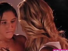 Cute lesbians Cherie, Abella and Mia having hot threesome