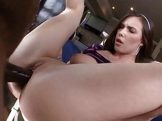 Babe expands her asshole with a thick vibrator