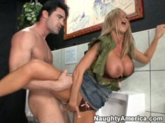 Nikki Benz gets fucked in public toilet