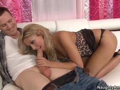 Golden haired hottie Natalie Vegas gives head to Ryan Blaze