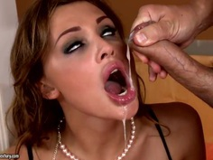 Astounding porn star Aletta Ocean gets hot loans on her plump lips and big boobs
