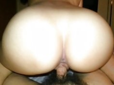 Big booty Korean chick rides dick reverse cowgirl in POV
