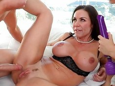 Hot mum babe are having wild joy with a lewd cock