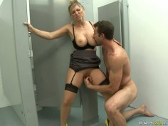 Crazy sex fun with busty bitch Devon Lee in the toilet room