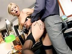 Secretary Donna fucked in black seamed stockings