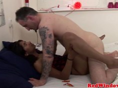 Real ethnic hooker gets her small tits jizzed