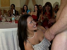 Sucking and taking facial cumshots in front of friends
