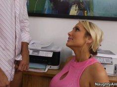 Blonde intern Alanah Rae gives blowjob