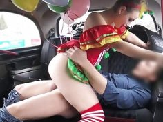 Sweet babe in costume likes drivers cock
