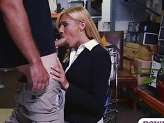 Sexy milf pounded by nasty pawn keeper in storage room