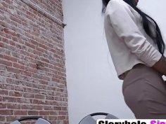 Ebony Babe Nadia Jay Enjoys Blowing Cock In Glory Hole