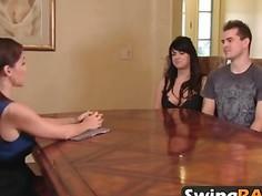 Hot lesbian foursome of swingers