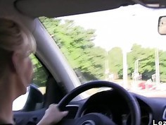 Lesbians playing in the car while driving european oral