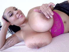 Anastasia Lux teases us with her giant melons tits before she started masturbating