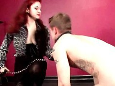 Guy in chains sexually tortured by his mistress