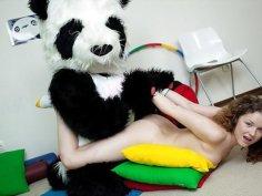 Sporty sexy teen fucks with funny Panda