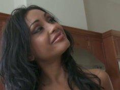 Outrageously hot brunette Priya Rai fucking and sucking big cock
